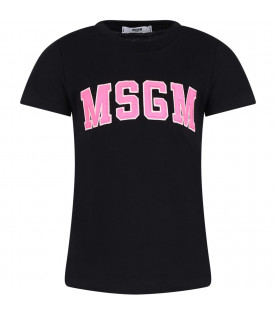 MSGM KIDS Black girl T-shirt with neon pink logo