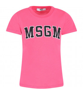 MSGM KIDS Fucshia girl T-shirt with black logo