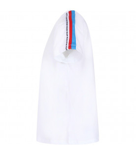 MSGM KIDS White boy T-shirt with colorful stripes