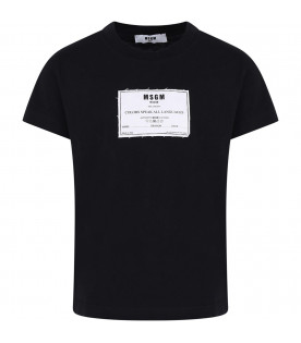 MSGM KIDS Black boy T-shirt with white patch