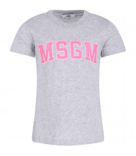 MSGM KIDS Grey girl T-shirt with neon pink logo