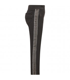 GIVENCHY KIDS Black girl pants with side stripes and logo