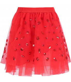 ALBERTA FERRETTI JUNIOR Red girl skirt with sequins