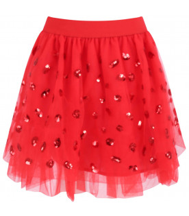 Red skirt for girl with sequins