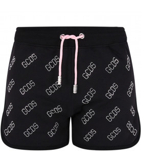 GCDS KIDS Short nero per bambina con logo all-over