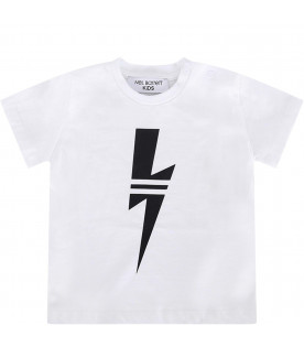 NEIL BARRETT KIDS White babyboy T-shirt with black thunder