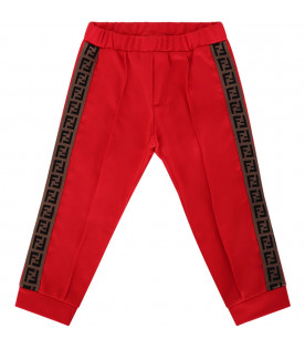 FENDI KIDS Red babykids pants with FF