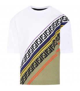 FENDI KIDS White kids T-shirt with FF