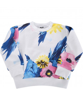 MSGM KIDS White babygirl sweatshirt with colorful flowers