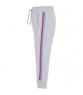 MSGM KIDS Grey boy pants with colorful stripes