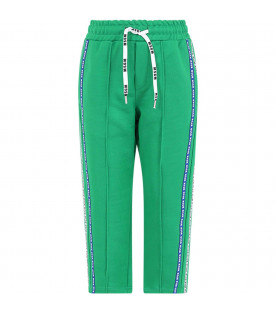 MSGM KIDS Green boy pants with blue and white stripes