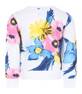 MSGM KIDS White girl sweatshirt with colorful flowers