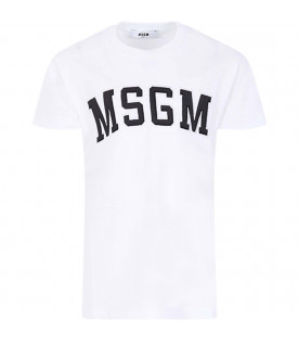 MSGM KIDS White kids T-shirt with black logo