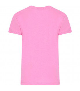 MSGM KIDS Pink girl T-shirt with colorful logo