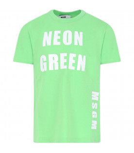 MSGM KIDS Neon green girl T-shirt with white logo