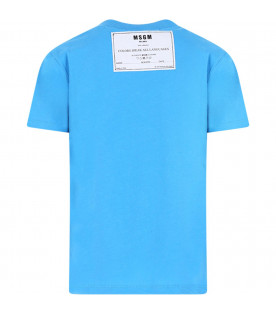 MSGM KIDS Light blue girl T-shirt with white logo
