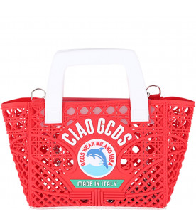 GCDS KIDS Red girl bag with white logo