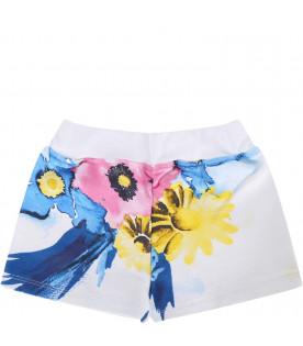 MSGM KIDS White babygirl short with colorful flowers