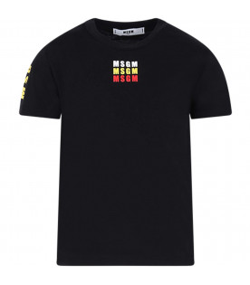 MSGM KIDS Black kids T-shirt with colorful logos