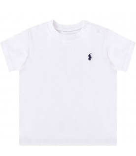 RALPH LAUREN KIDS White babyboy T-shirt with blue iconic pony
