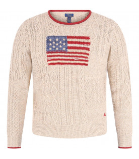 RALPH LAUREN KIDS Beige girl sweater with colorful icnoc flag