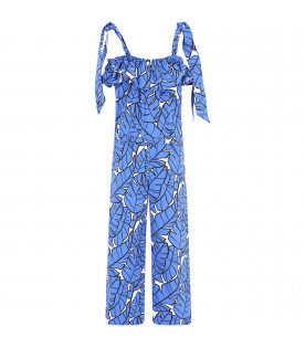MSGM KIDS Royal blue girl jumpsuit with colorful print