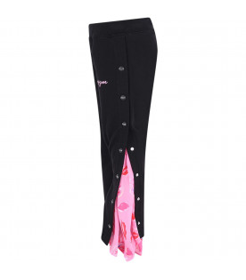 MSGM KIDS Black girl pants with pink logo