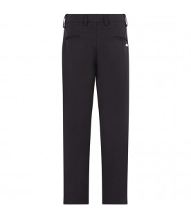 MSGM KIDS Black boy pants with metallic logo