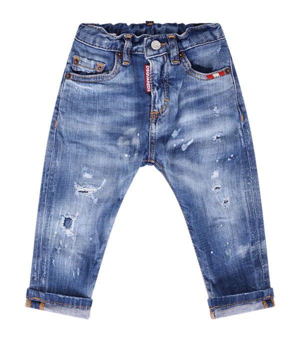 DSQUARED2 Light blue babyboy jeans with white logo