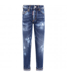 DSQUARED2 Blue boy jeans with black logo