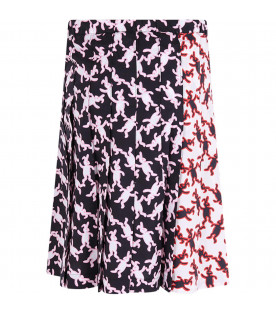MARNI KIDS White and black girl skirt with all-over rabbits