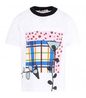 MARNI KIDS White girl T-shirt with colorful print