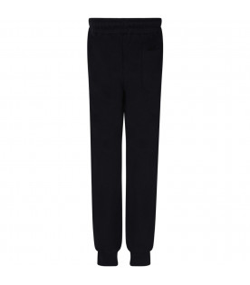 MSGM KIDS Black kids sweatpants with white logo