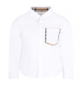 BURBERRY KIDS White boy shirt with check