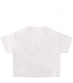 BURBERRY KIDS White baby girl T-shirt with black logo