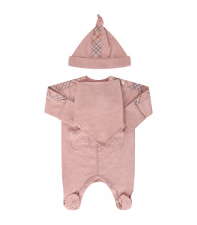 BURBERRY KIDS Set rosa per neonata con check