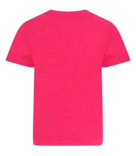 BURBERRY KIDS Fuchsia girl T-shirt with white logo