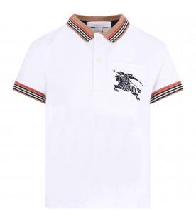 BURBERRY KIDS White boy polo shirt with black iconic logo