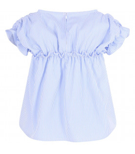 SIMONETTA Light blue and white striped girl blouse