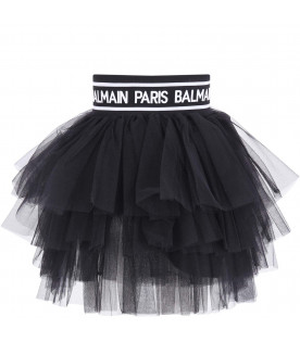 BALMAIN KIDS Gonna nera per bambina con logo bianco