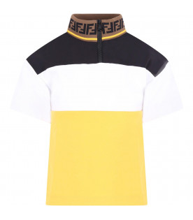 FENDI KIDS Colorful boy T-shirt with iconic double FF