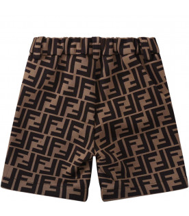FENDI KIDS Brown babyboy short with double FF