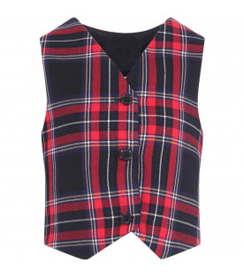 PRVT LABEL Colorful checked boy vest