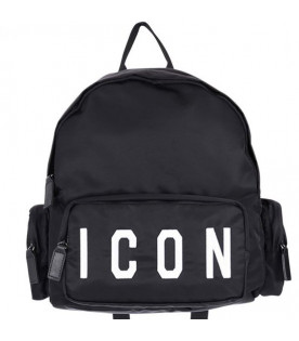 DSQUARED2 Black kids backpack with white logo