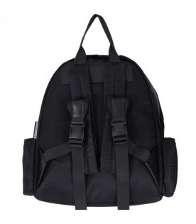 Black backpack for kids with white logo