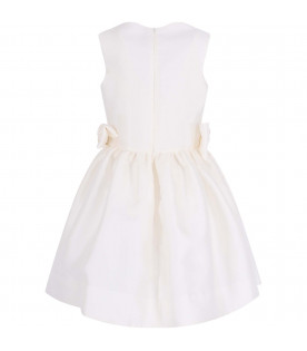 SIMONETTA Ivory girl dress with side bows