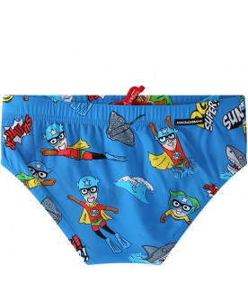 DOLCE & GABBANA KIDS Light blue boy swimming with colorful logo