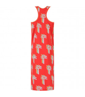 STELLA MCCARTNEY KIDS Red girl dress with colorful palms