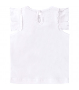 STELLA MCCARTNEY KIDS White babygirl T-sshirt with red cherry