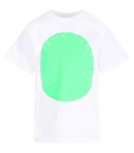 STELLA MCCARTNEY KIDS White boy T-shirt with neon green print
